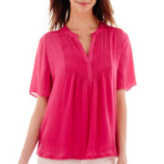 a.n.a® Short-Sleeve Pintuck Peasant Blouse