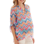 Maternity 3/4-Sleeve Roll-Tab Woven V-Neck Tunic Blouse