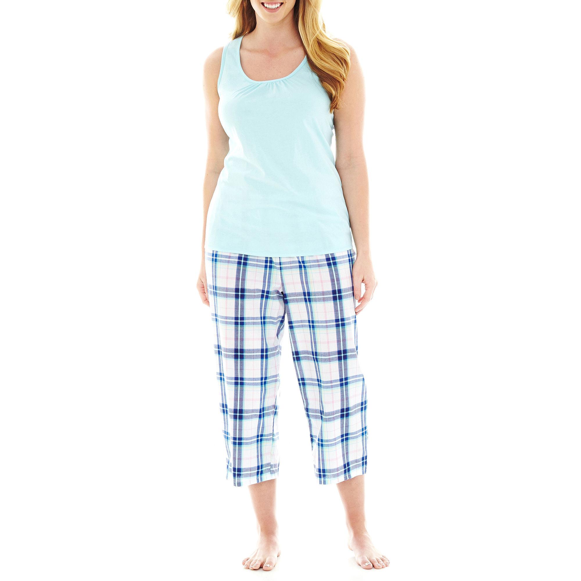 Mixit Woven Tank Top and Capris Pajama Set - Plus
