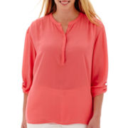 a.n.a® 3/4-Sleeve Roll-Tab Mandarin Collar Woven Top - Plus