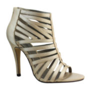 Michael Antonio Tayte Satin Caged Open-Toe Pumps