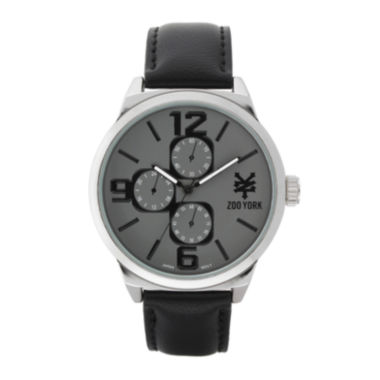 jcpenney.com | Zoo York® Mens Silver-Tone Black Strap Watch
