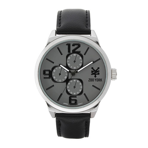Zoo York® Mens Silver-Tone Black Strap Watch