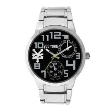jcpenney.com | Zoo York® Mens Black And Silvertone Leather Strap Watch