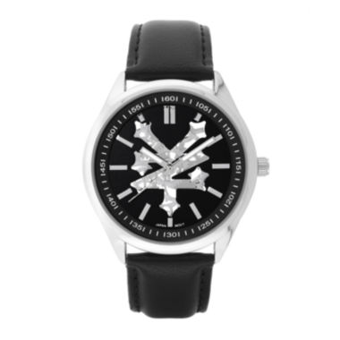 jcpenney.com | Zoo York® Mens All Black Leather Strap Watch
