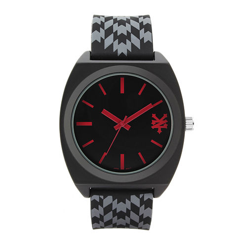 Zoo York® Mens Black And Red Rubber Strap Watch