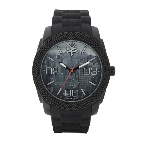 Zoo York® Mens Black Graphic Rubber Strap Watch