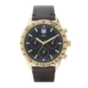 Zoo York® Mens Gold-Tone and Blue Brown Strap Watch