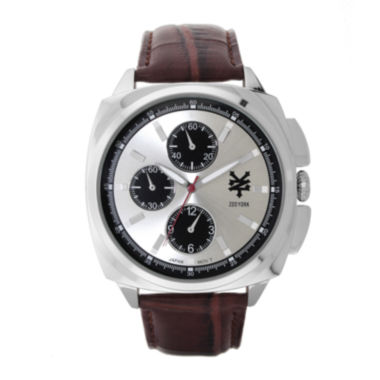 jcpenney.com | Zoo York® Mens Silver-Tone Brown Strap Watch