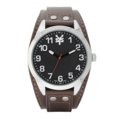 jcpenney.com | Zoo York® Mens Black Silver-Tone Brown Strap Watch