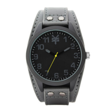 jcpenney.com | Zoo York® Mens Gray And Black Leather Strap Watch