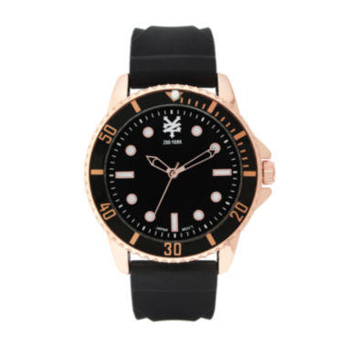 jcpenney.com | Zoo York® Mens Rose-Gold Tone Black Rubber Strap Watch