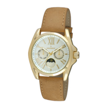 jcpenney.com | Peugeot® Women's Gold Tone Multi-Function Brown Suede Strap Watch