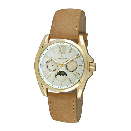 Peugeot® Women's Gold Tone Multi-Function Brown Suede Strap Watch