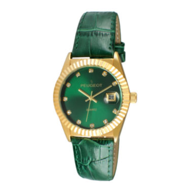 jcpenney.com | Peugeot® Women's Gold Tone Coin Edge Bezel Crystal Marker Green Leather Stap Watch