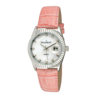 jcpenney.com | Peugeot® Women's Silver Tone Coin Edge Bezel Crystal Marker Pink Leather Stap Watch