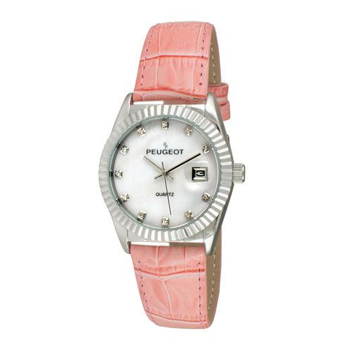 Peugeot® Womens Crystal Silver-Tone Bezel Marker Pink Strap Watch