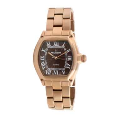 jcpenney.com | Peugeot® Womens Brown Rose-Tone Bracelet Watch