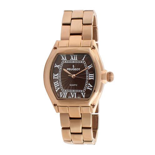 Peugeot® Womens Brown Rose-Tone Bracelet Watch