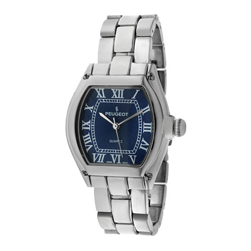Peugeot® Women's Silver Tone Blue Dial  Tank Roman Numeral Bracelet Watch