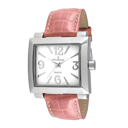 Peugeot® Womens Silver-Tone Pink Calfskin Strap Watch