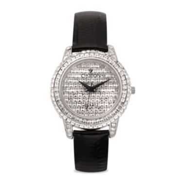 jcpenney.com | Croton Mens Crystal-Accent Black Leather Strap Watch