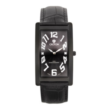 jcpenney.com | Croton Mens Black Rectangular Strap Watches