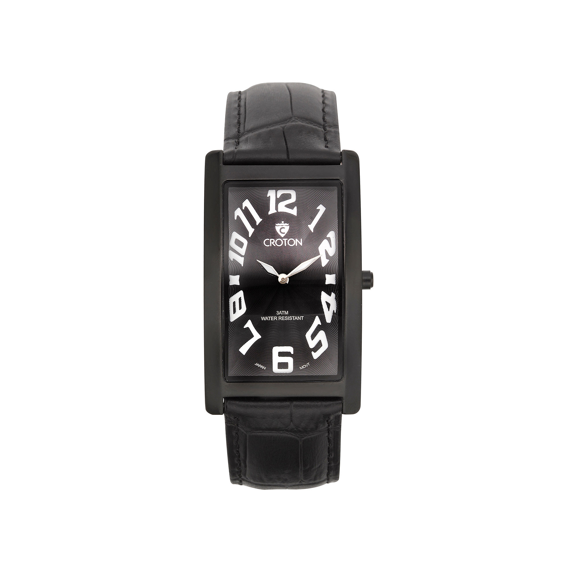 Croton Mens Black Rectangular Strap Watches