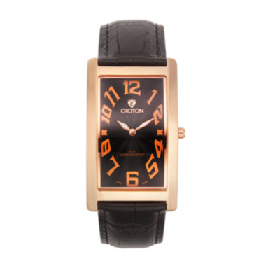 jcpenney.com | Croton Mens Black And Rose Rectangular Strap Watches