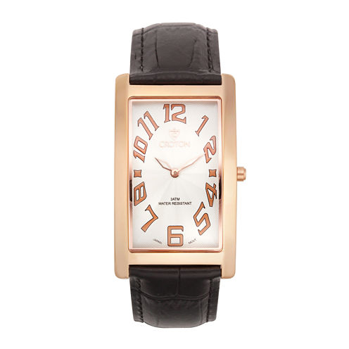 Croton Mens Rectangular Brown Leather Strap Watch