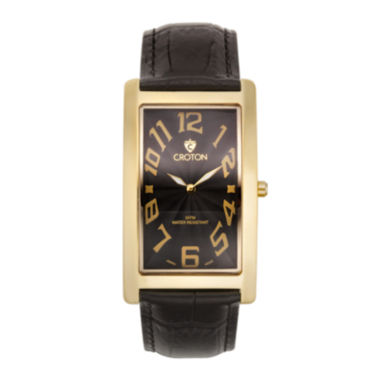 jcpenney.com | Croton Mens Rectangular Black Leather Strap Watch