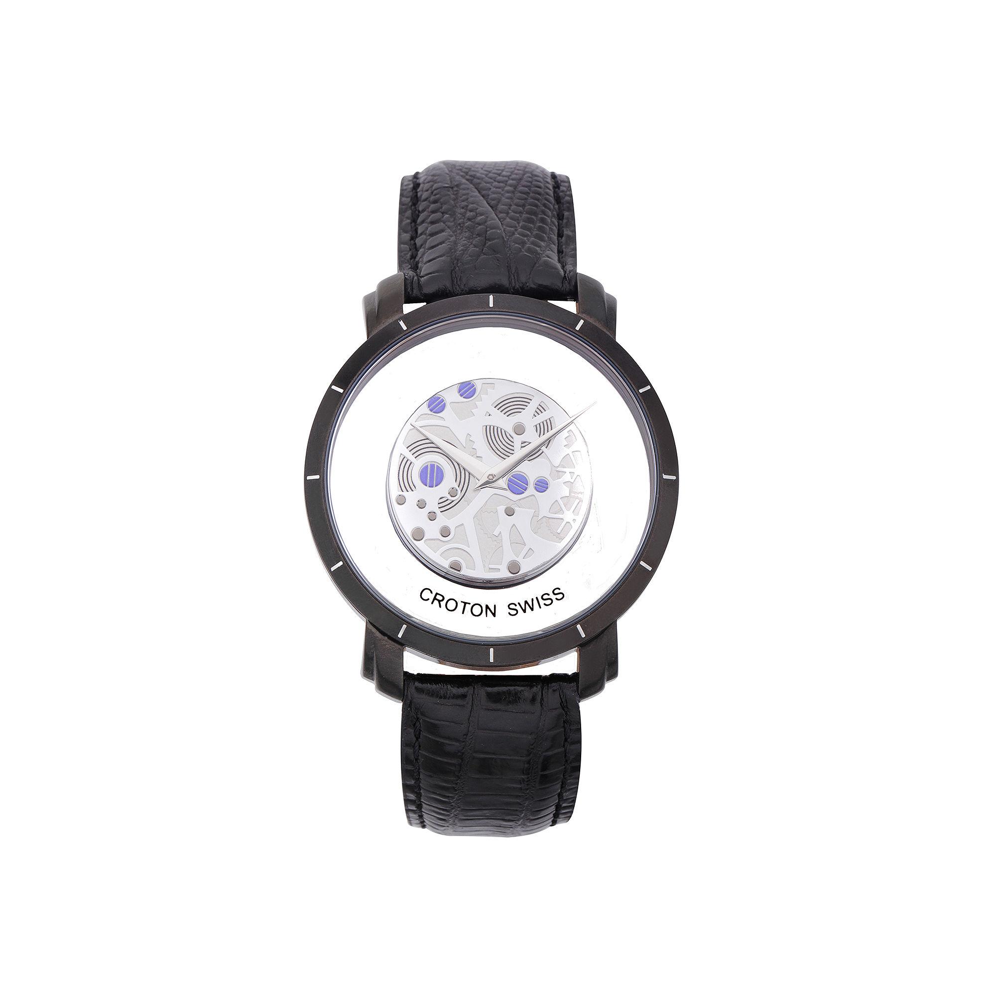 Croton Mens Black Leather Skeleton Watch