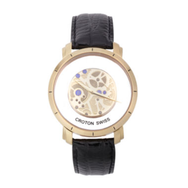 jcpenney.com | Croton Mens Brown And Rosegold Tone Skeleton Strap Watches