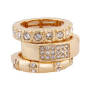 Mixit™ Gold-Tone 3-Stone Crystal Stretch Ring