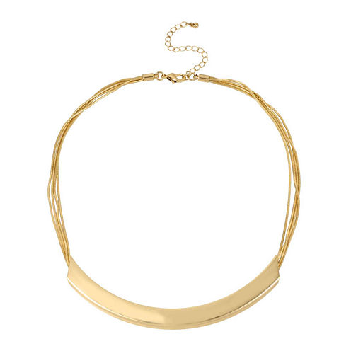 Worthington® Gold-Tone Curved Bar & Chain Necklace
