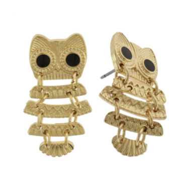 jcpenney.com | Capelli New York Gold-Tone Owl Drop Earrings