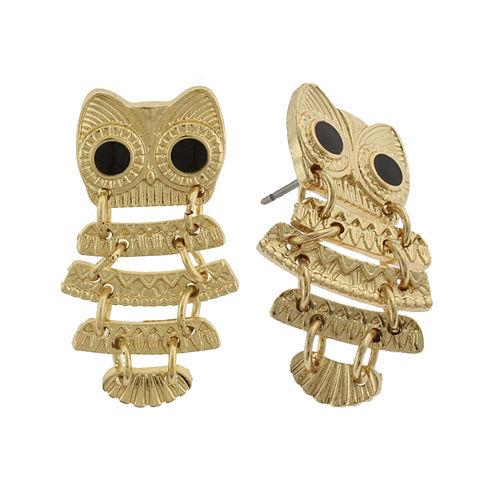 Capelli New York Gold-Tone Owl Drop Earrings