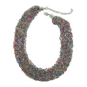 Decree® Braided Seedbead Multi-Strand Bib Necklace