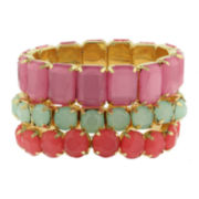 Decree® 3-pc. Gold-Tone Multi-Colored Stretch Bracelet Set