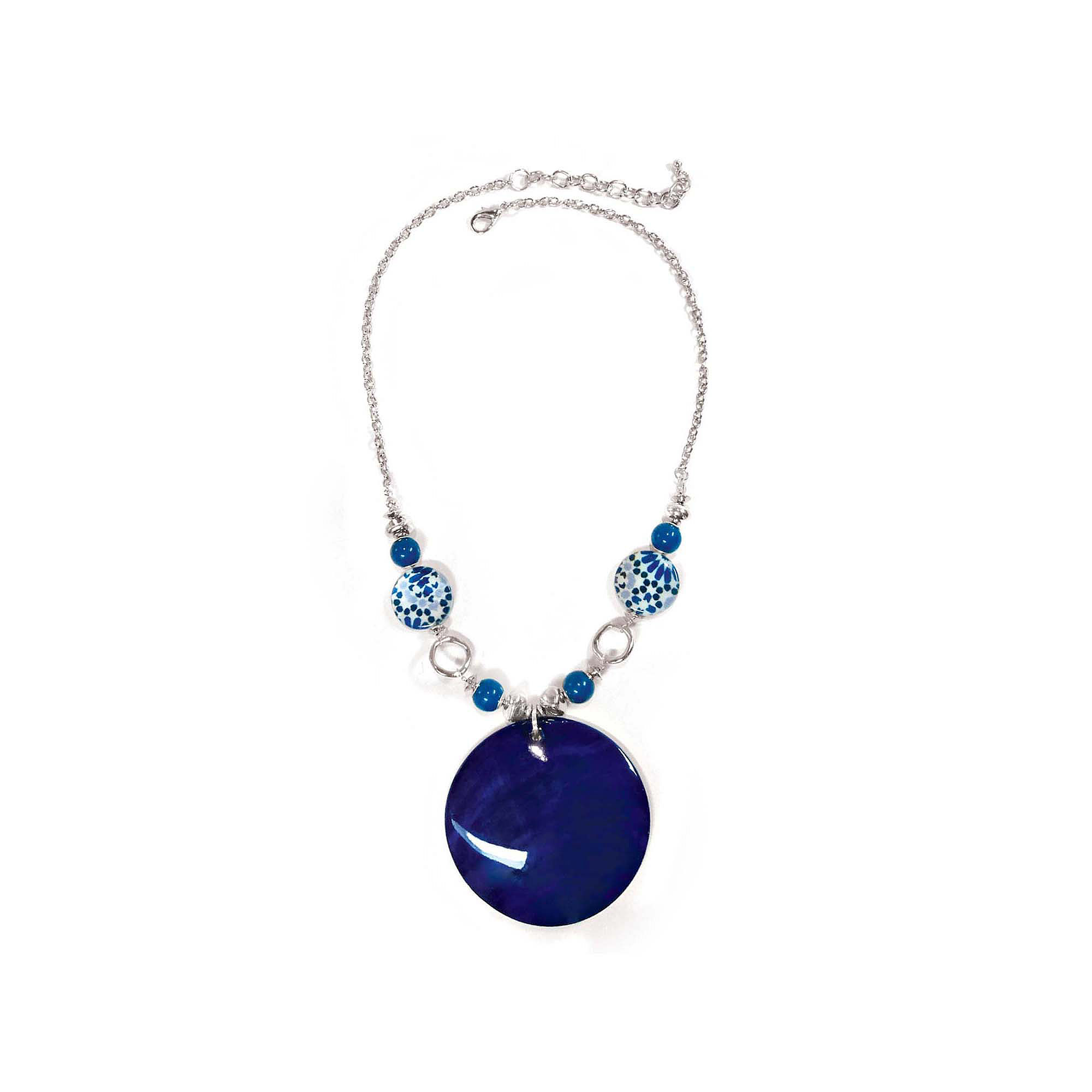 Studio By Carol Dauplaise Silver-Tone Blue Disc Pendant Necklace