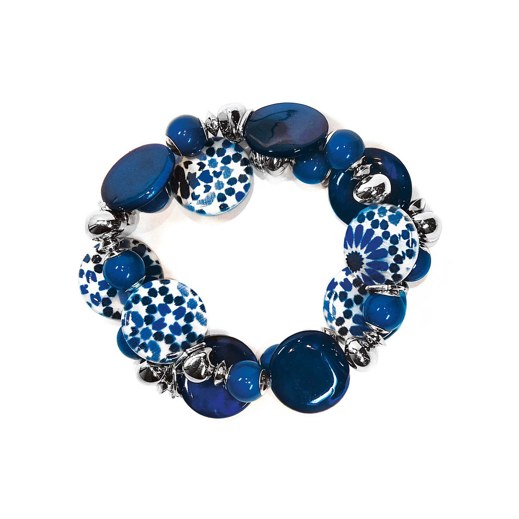 Studio By Carol Dauplaise Silver-Tone Blue 2-Row Stretch Bracelet