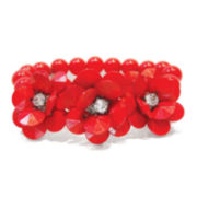 Studio By Carol Dauplaise Red 3-Flower Stretch Bracelet