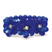 Studio By Carol Dauplaise Silver-Tone Blue 3-Flower Stretch Bracelet