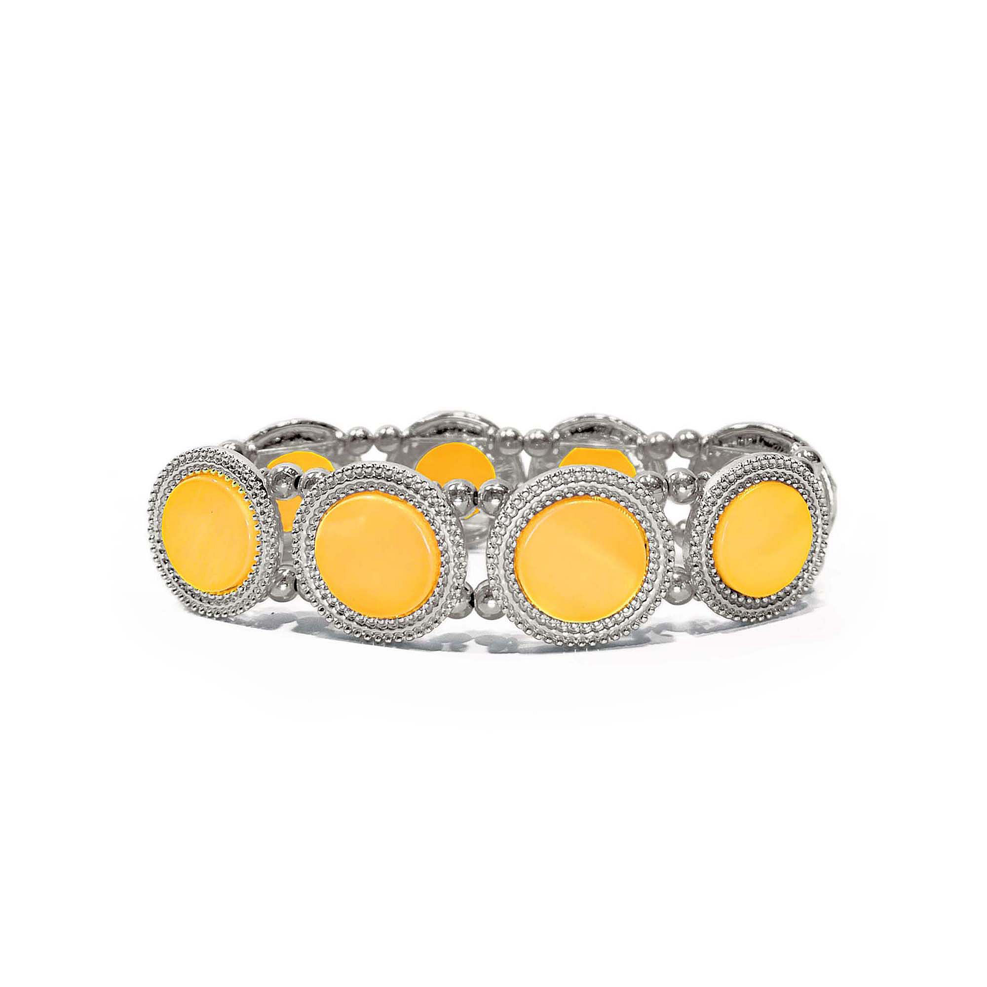 Studio by Carol Dauplaise Silver-Tone Yellow Disc Stretch Bracelet