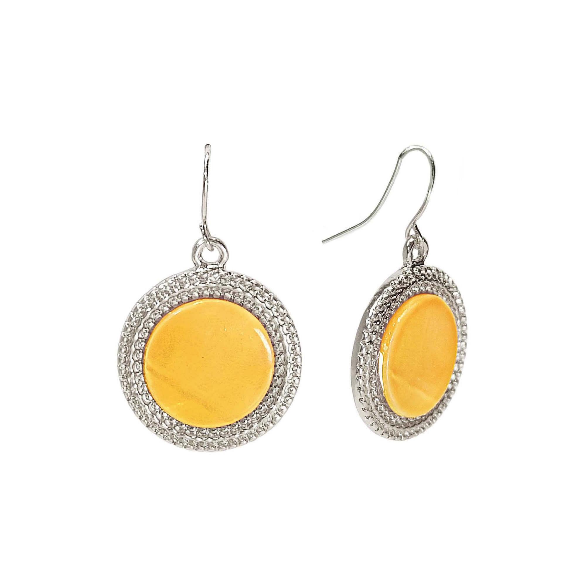 Studio by Carol Dauplaise Silver-Tone Yellow Disc Drop Earrings