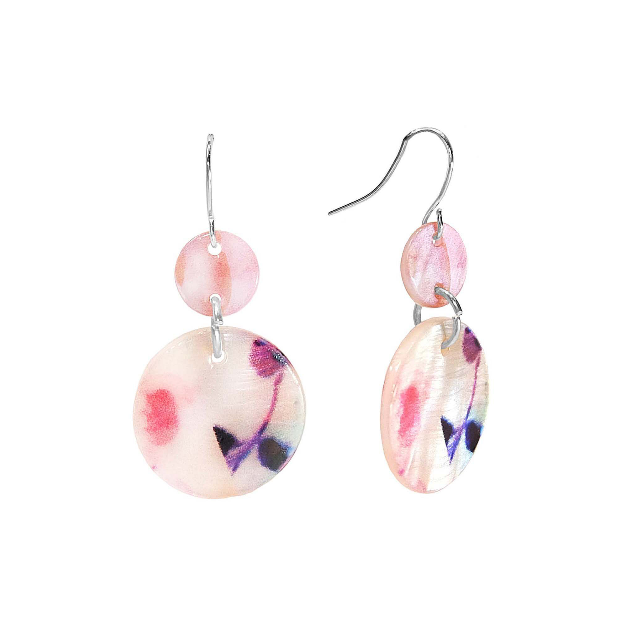 Studio By Carol Dauplaise Silver-Tone Pink Double Disc Drop Earrings