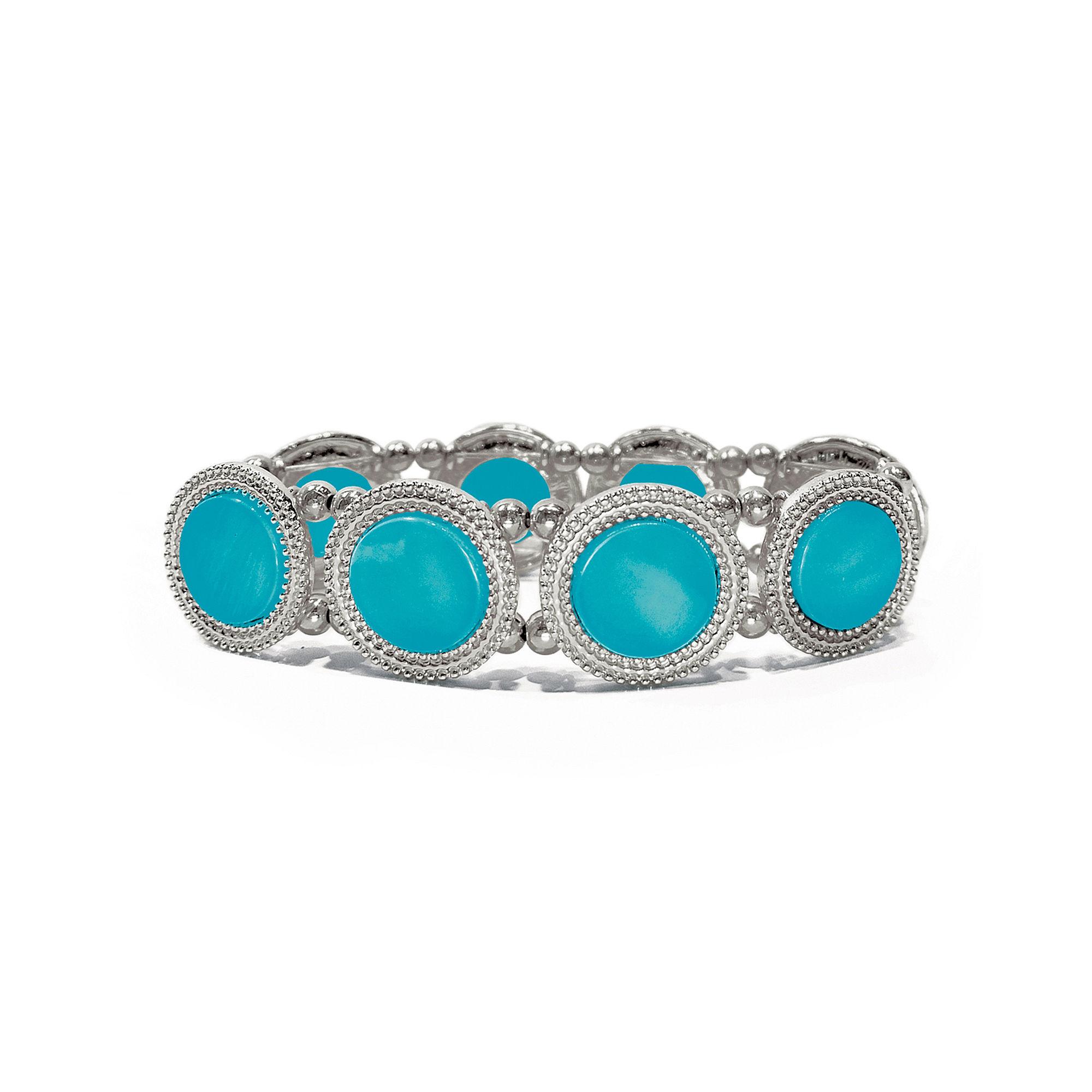 Studio by Carol Dauplaise Silver-Tone Blue Disc Stretch Bracelet