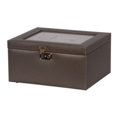 jcpenney.com | Mele & Co. Pewter Glass Top Faux Leather Jewelry Box