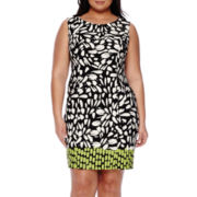 Alyx® Sleeveless Floral Border Sheath Dress - Plus