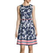 Liz Claiborne® Sleeveless Floral Belted Fit-and-Flare Dress